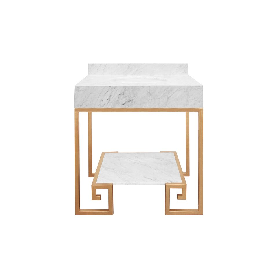 "30.5"" Isaac Edwards Collection Greek Key Gold Leaf Base with White Carrara Marble Top and Shelf, Backsplash Option"