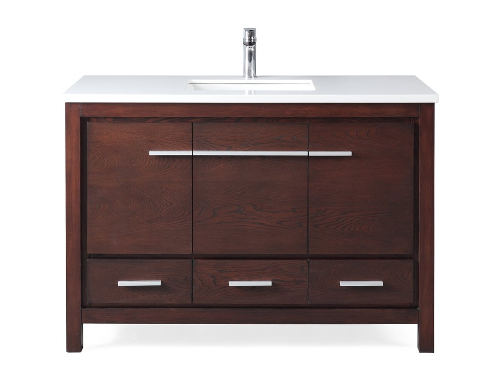 "Adelina 48"" Modern Style Bathroom Sink Vanity in Espresso Finish with Quartz Stone Countertop"