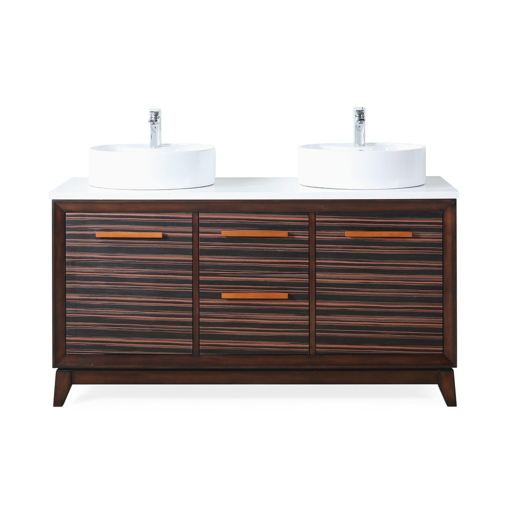 "Adelina 63""  Double Sinks Sink Bathroom Vanity in Dark Brown with White Quartz Counter Top"