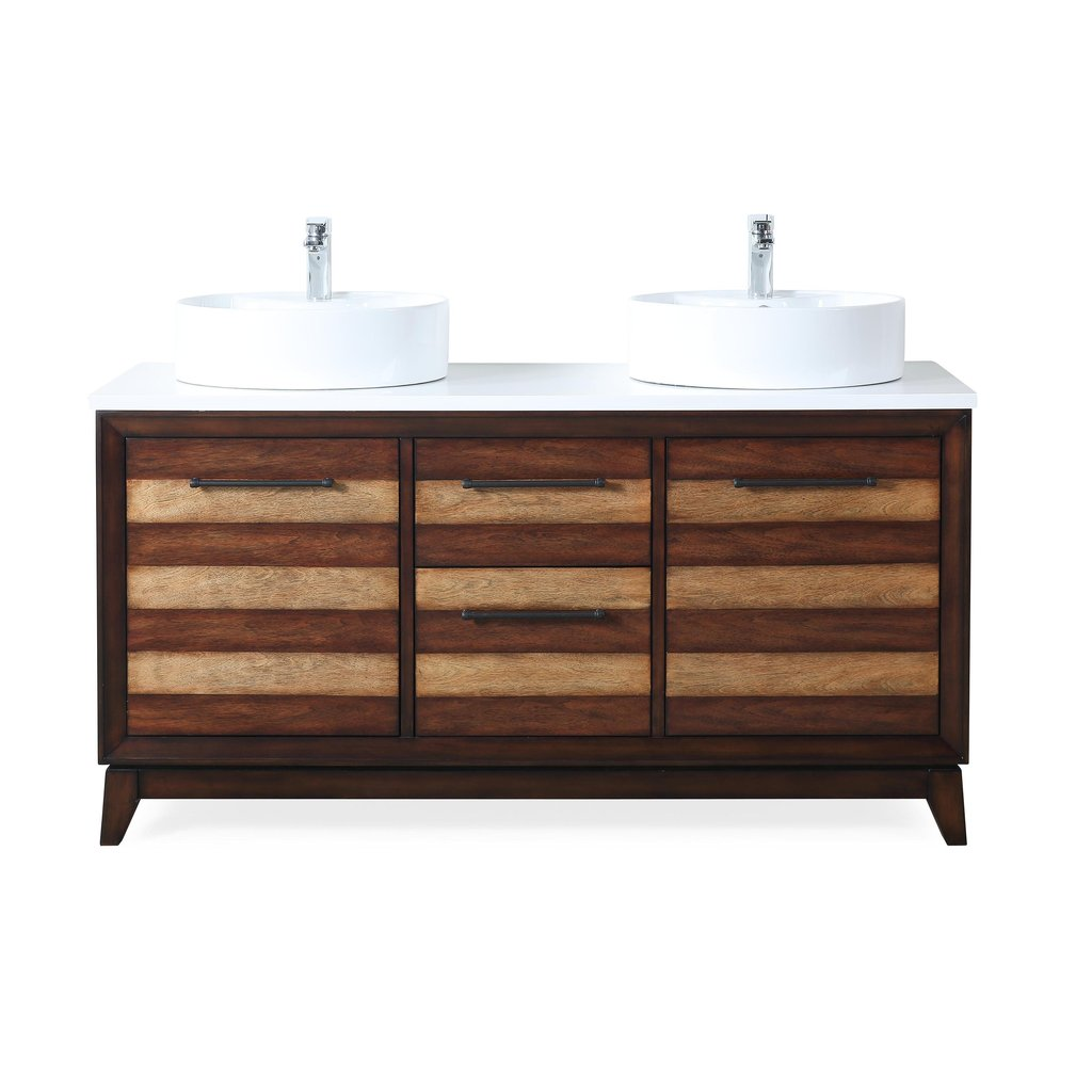 "Adelina 63""  Double Sinks Sink Bathroom Vanity in Light Brown Finish with White Quartz Counter Top"