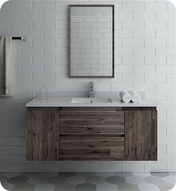 "48"" Wall Hung Modern Bathroom Vanity with Mirror"
