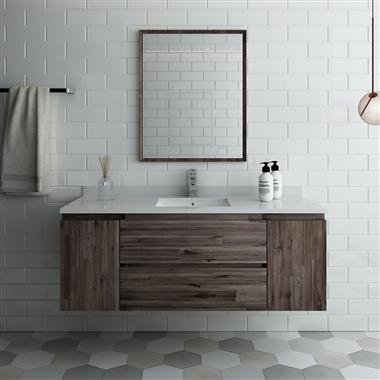 "54"" Wall Hung Modern Bathroom Vanity with Mirror"