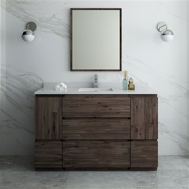 "54"" Floor Standing Modern Bathroom Vanity with Mirror"