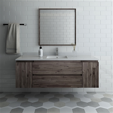 "Fresca Formosa 60"" Wall Hung Single Sink Modern Bathroom Vanity with Mirror"