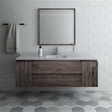 "60"" Wall Hung Single Sink Modern Bathroom Vanity with Mirror"
