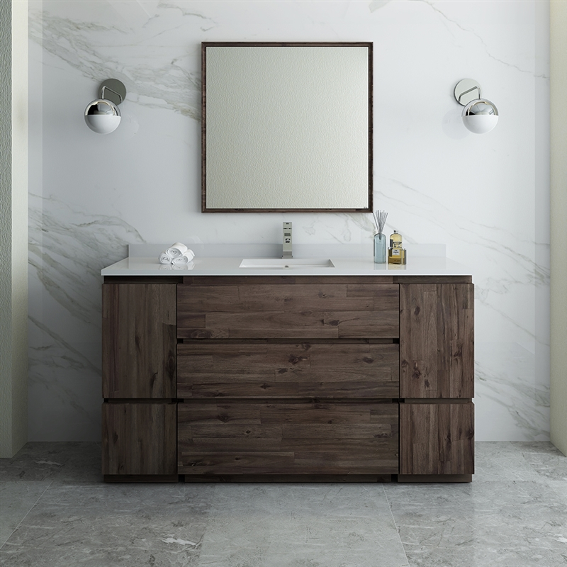 "Fresca Formosa 60"" Floor Standing Single Sink Modern Bathroom Vanity with Mirror"