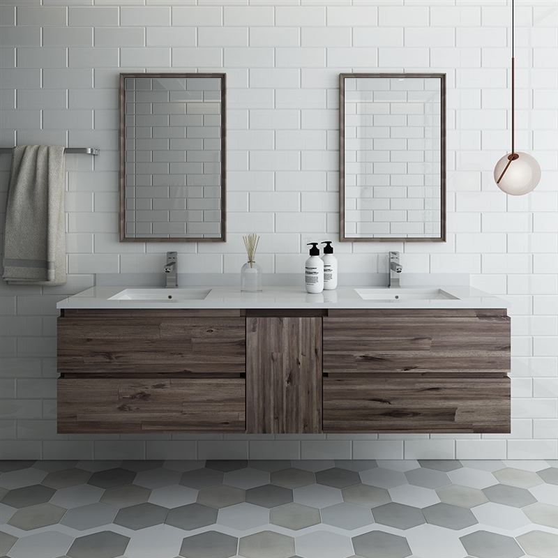 """Fresca Formosa 60"""" Wall Hung Double Sink Modern Bathroom Vanity with Mirrors"""