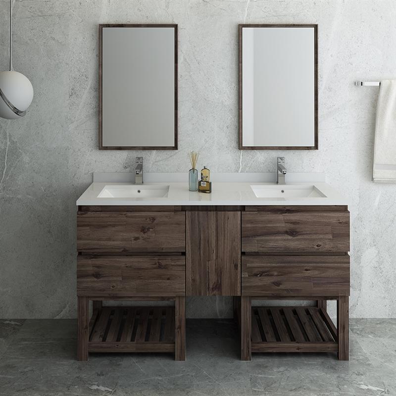 "Fresca Formosa 60"" Floor Standing Double Sink Modern Bathroom Vanity with Open Bottom & Mirrors"