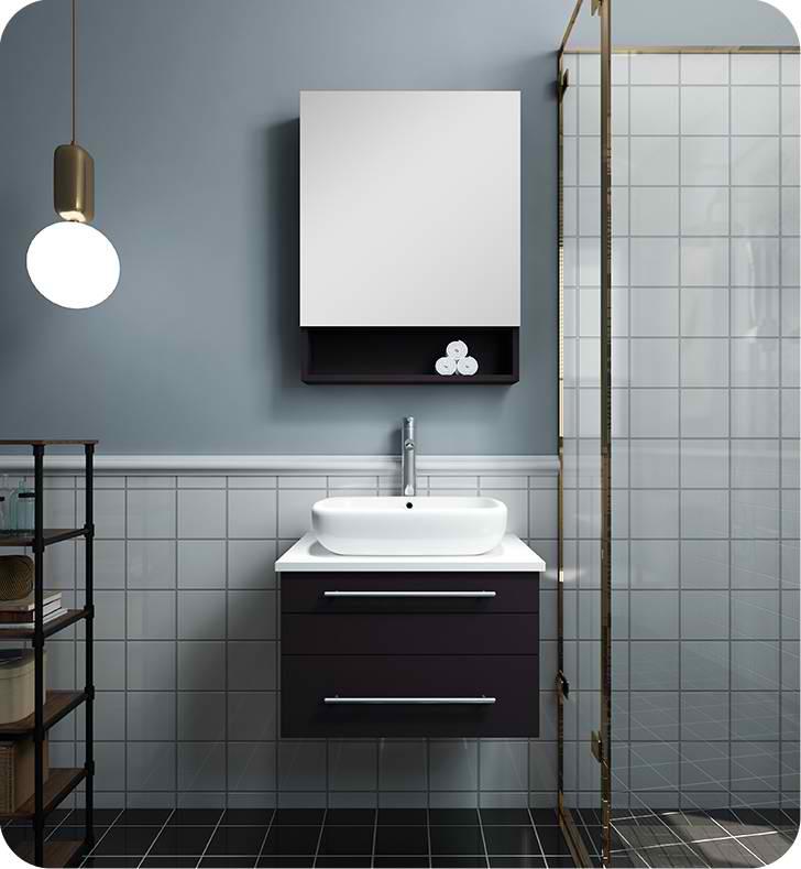 "Fresca Lucera 24"" Espresso Wall Hung Vessel Sink Modern Bathroom Vanity with Medicine Cabinet"