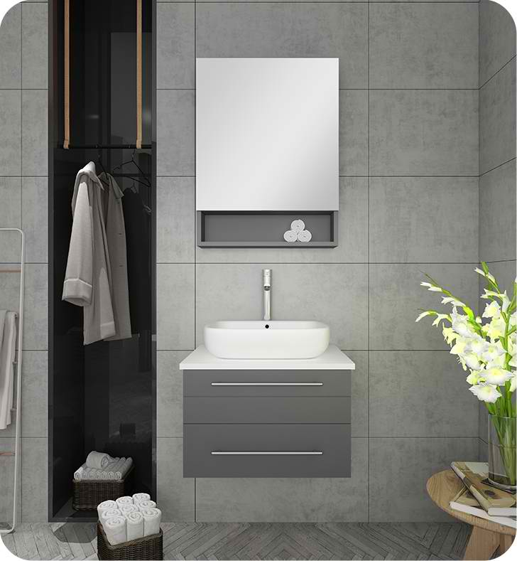 "24"" Gray Wall Hung Vessel Sink Modern Bathroom Vanity with Medicine Cabinet"
