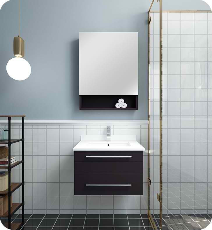 "24"" Espresso Wall Hung Undermount Sink Modern Bathroom Vanity with Medicine Cabinet"