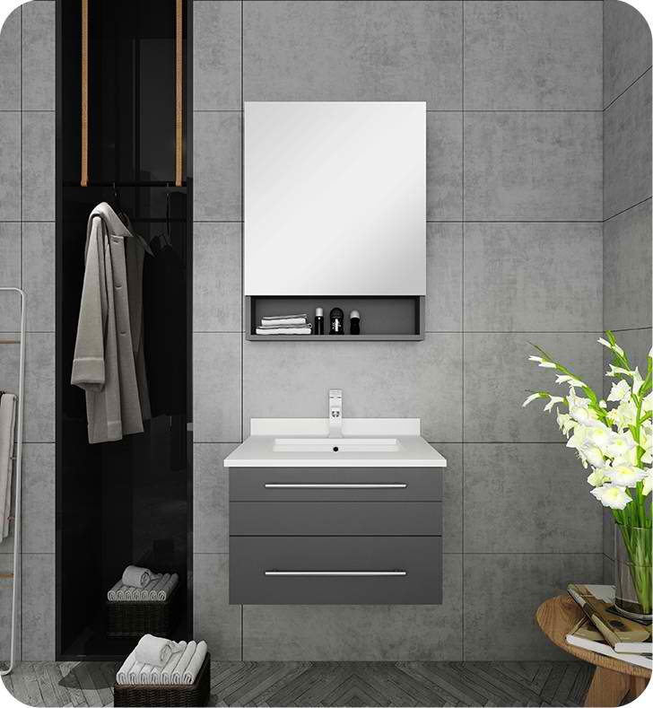 "24"" Gray Wall Hung Undermount Sink Modern Bathroom Vanity with Medicine Cabinet"