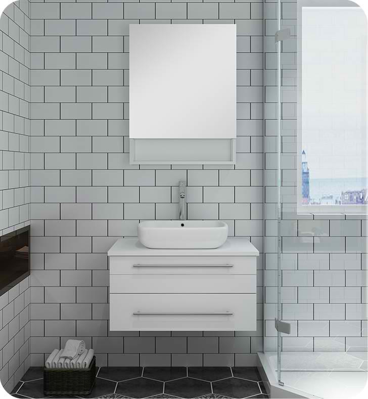 "Fresca Lucera 30"" White Wall Hung Vessel Sink Modern Bathroom Vanity with Medicine Cabinet"