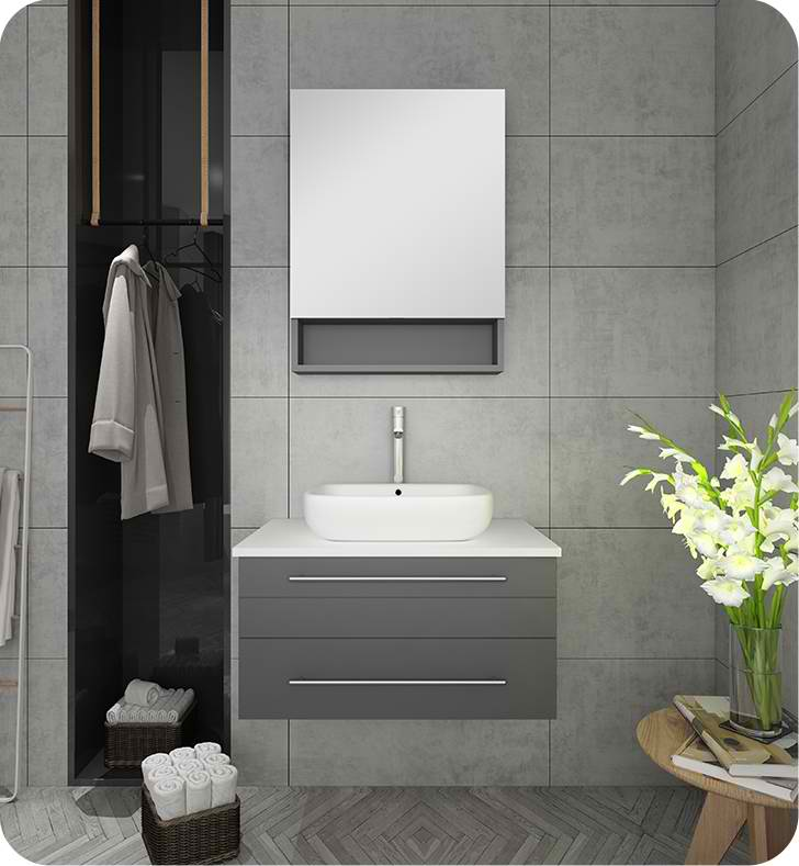 "Fresca Lucera 30"" Gray Wall Hung Vessel Sink Modern Bathroom Vanity with Medicine Cabinet"