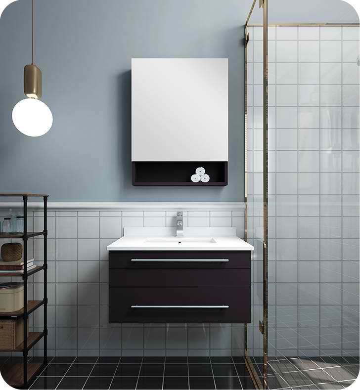 "Fresca Lucera 30"" Espresso Wall Hung Undermount Sink Modern Bathroom Vanity with Medicine Cabinet"