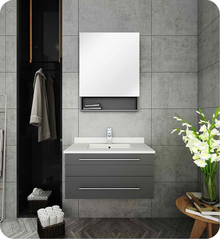 "30"" Gray Wall Hung Undermount Sink Modern Bathroom Vanity with Medicine Cabinet"