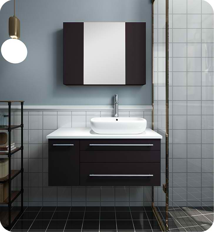 "Fresca Formosa 30"" Floor Standing Modern Bathroom Vanity with Mirror"