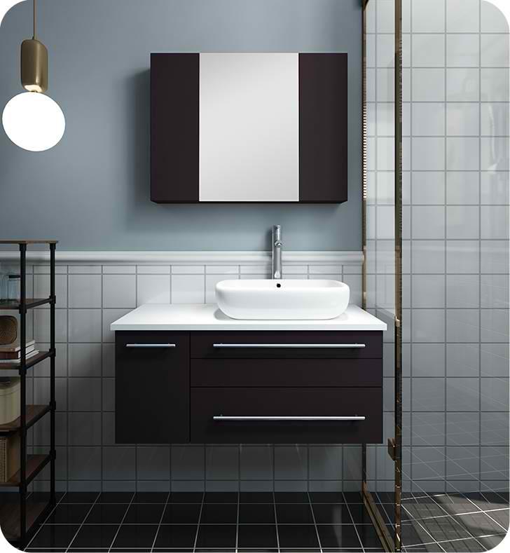 "36"" Espresso Wall Hung Vessel Sink Modern Bathroom Vanity with Medicine Cabinet - Left Version"