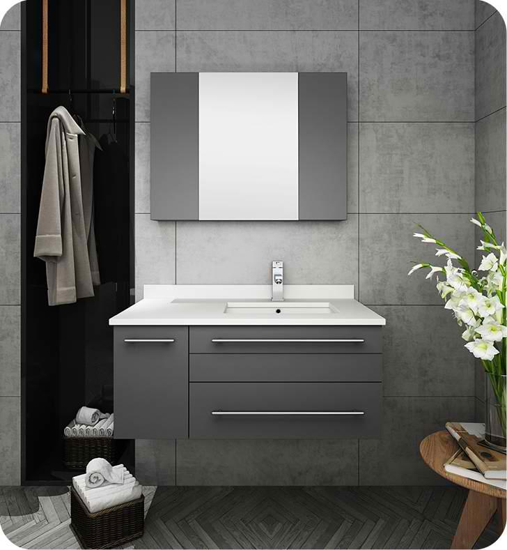 "Fresca Lucera 36"" Gray Wall Hung Undermount Sink Modern Bathroom Vanity with Medicine Cabinet - Left Version"