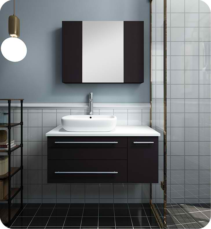 "36"" Espresso Wall Hung Vessel Sink Modern Bathroom Vanity with Medicine Cabinet - Right Version"