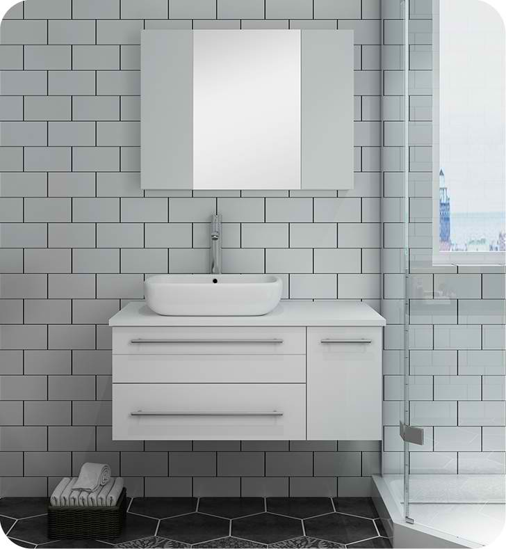 "36"" White Wall Hung Vessel Sink Modern Bathroom Vanity with Medicine Cabinet - Right Version"