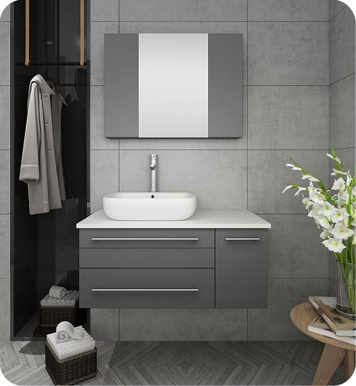 "36"" Gray Wall Hung Vessel Sink Modern Bathroom Vanity with Medicine Cabinet - Right Version"