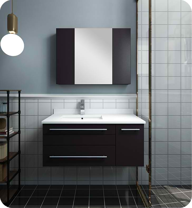 "36"" Espresso Wall Hung Undermount Sink Modern Bathroom Vanity with Medicine Cabinet - Right Version"