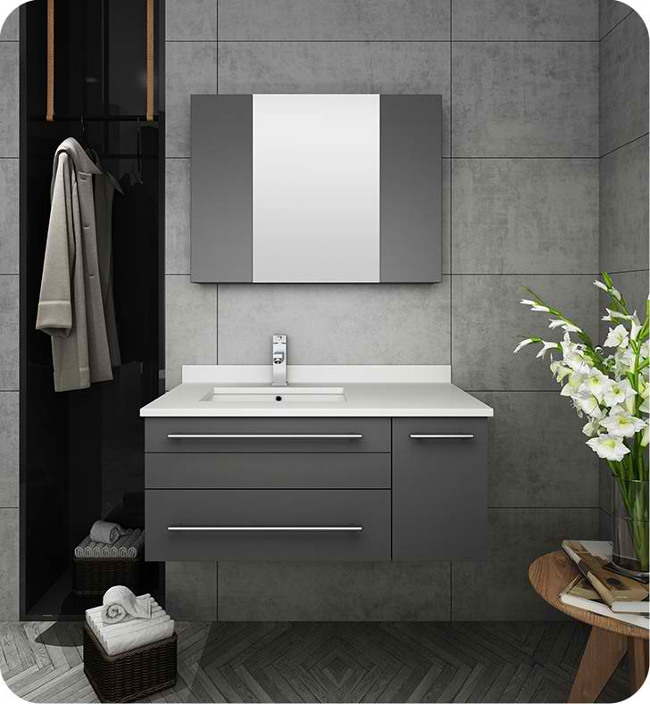 "Fresca Lucera 36"" Gray Wall Hung Undermount Sink Modern Bathroom Vanity with Medicine Cabinet - Right Version"