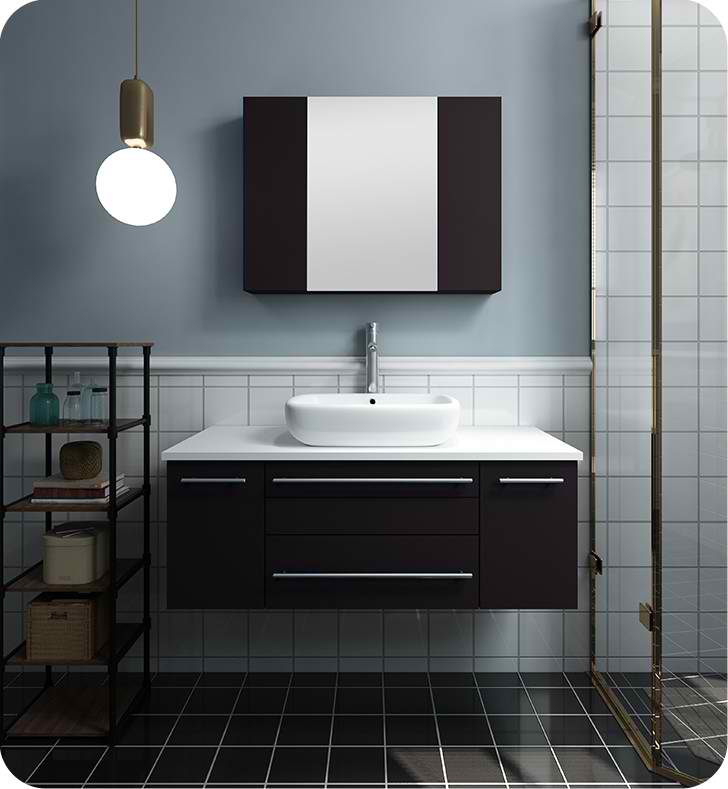 "Fresca Lucera 42"" Espresso Wall Hung Vessel Sink Modern Bathroom Vanity with Medicine Cabinet"