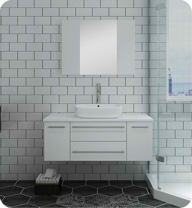 "Fresca Lucera 42"" White Wall Hung Vessel Sink Modern Bathroom Vanity with Medicine Cabinet"