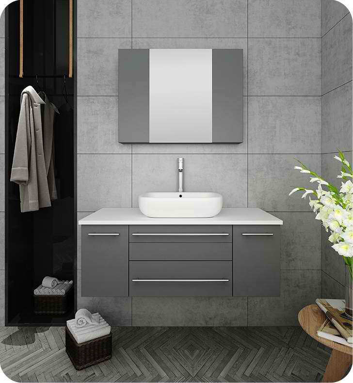 "42"" Gray Wall Hung Vessel Sink Modern Bathroom Vanity with Medicine Cabinet"