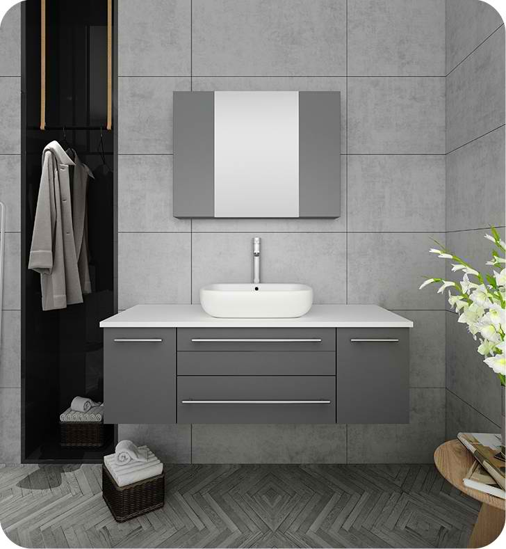 "Fresca Lucera 48"" Gray Wall Hung Vessel Sink Modern Bathroom Vanity with Medicine Cabinet"