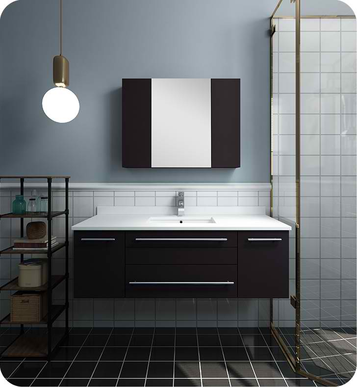 "48"" Espresso Wall Hung Undermount Sink Modern Bathroom Vanity with Medicine Cabinet"