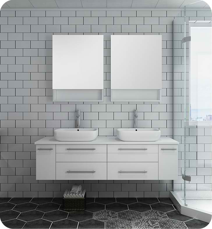"Fresca Lucera 60"" White Wall Hung Double Vessel Sink Modern Bathroom Vanity with Medicine Cabinets"