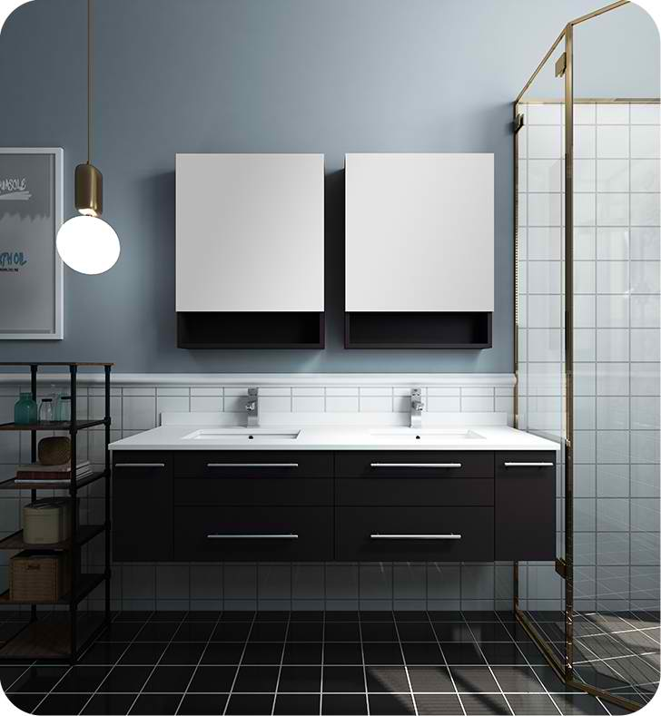 "Fresca Lucera 60"" Espresso Wall Hung Double Undermount Sink Modern Bathroom Vanity with Medicine Cabinets"