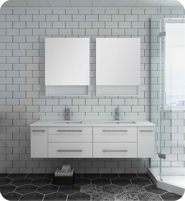 "Fresca Lucera 60"" White Wall Hung Double Undermount Sink Modern Bathroom Vanity with Medicine Cabinets"