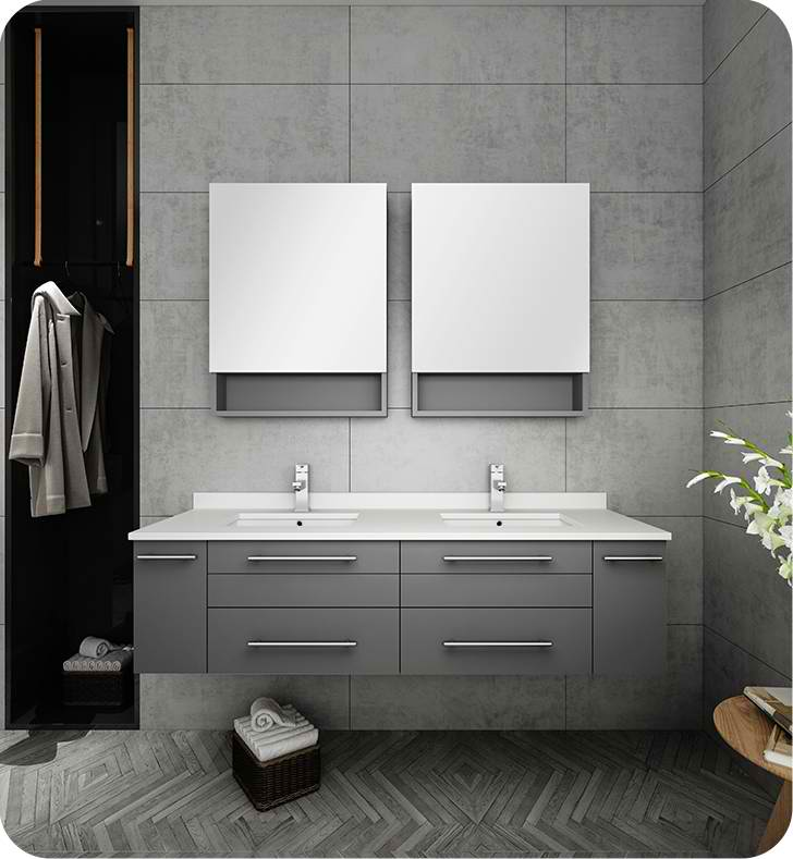 "Fresca Lucera 60"" Gray Wall Hung Double Undermount Sink Modern Bathroom Vanity with Medicine Cabinets"