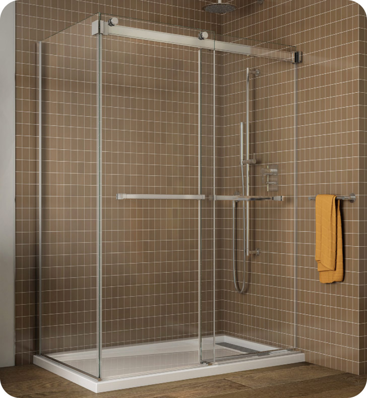 Fleurco Gemini Frameless Bypass 48 Sliding Shower Doors with Return Panel