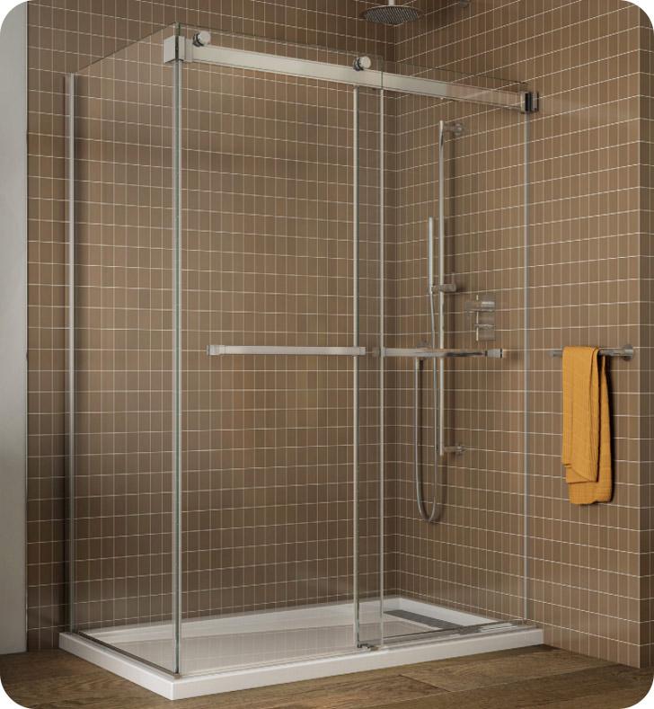 Fleurco Gemini Frameless Bypass 60 Sliding Shower Doors with Return Panel