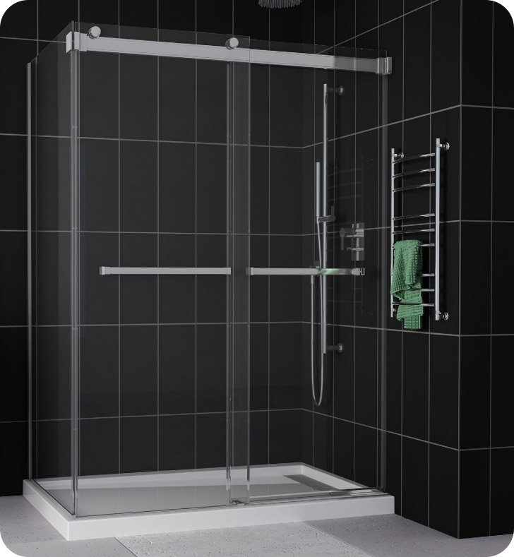 Fleurco Gemini Plus Frameless Bypass 48 Sliding Shower Doors with Return Panel