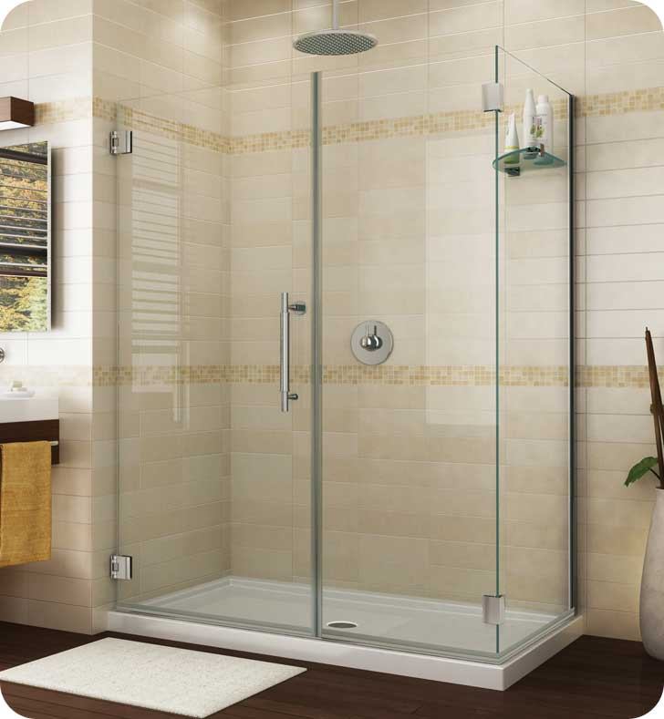 Fleurco Platinum Kara Shower Door and Panel with Return Panel and Wall Mount Hinges