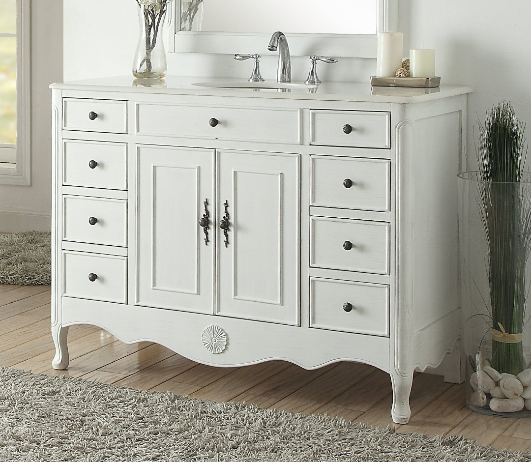 "46.5"" Antique white Single Bathroom Sink Vanity with White Marble Counter Top"