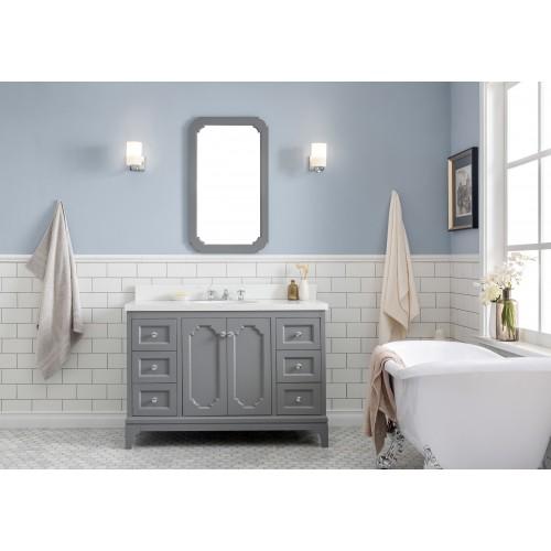 "Queen 48"" Wide Cashmere Grey Single Sink Quartz Carrara Bathroom Vanity"