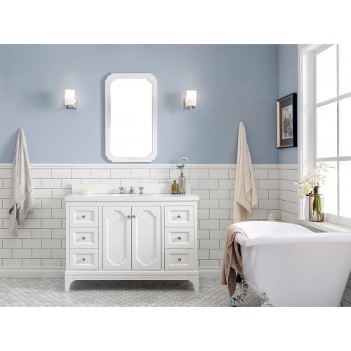 "Queen 48"" Wide Pure White Single Sink Quartz Carrara Bathroom Vanity"