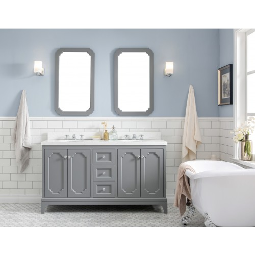 "60"" Wide Cashmere Grey Double Sink Quartz Carrara Bathroom Vanity"