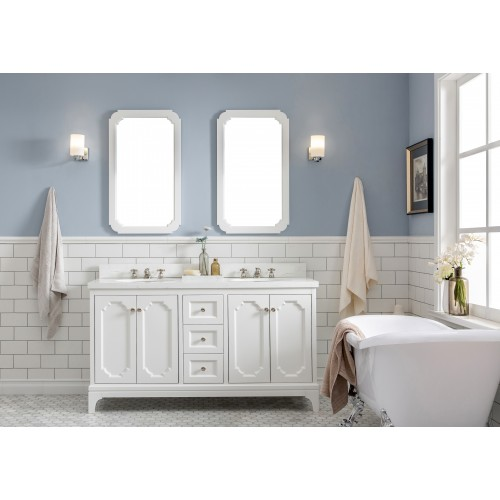 "Queen 60"" Wide Pure White Double Sink Quartz Carrara Bathroom Vanity"