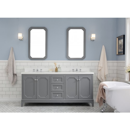 "Queen 72"" Wide Cashmere Grey Double Sink Quartz Carrara Bathroom Vanity"