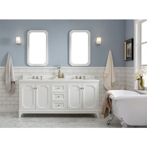 "Queen 72"" Wide Pure White Double Sink Quartz Carrara Bathroom Vanity"
