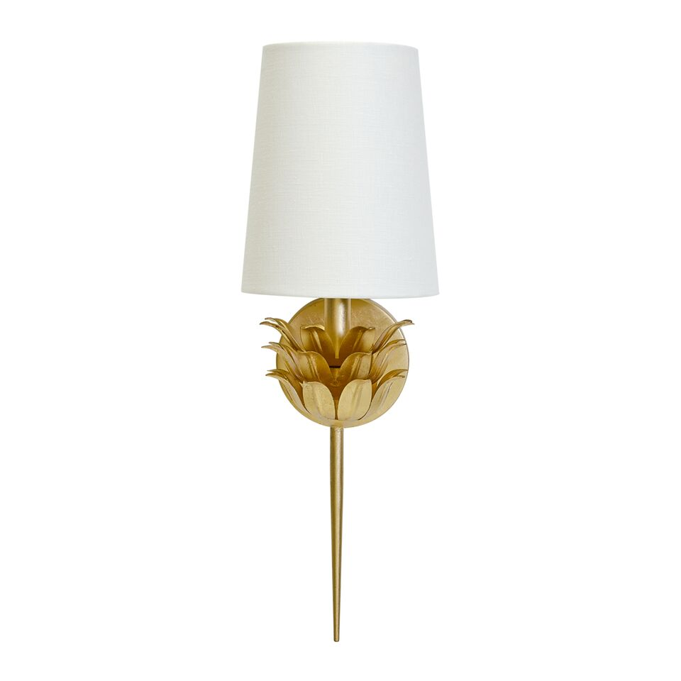 Sconce with 3 Layer Leaf Motif & White Linen Shade with Silver or Gold Leaf One Arm Option