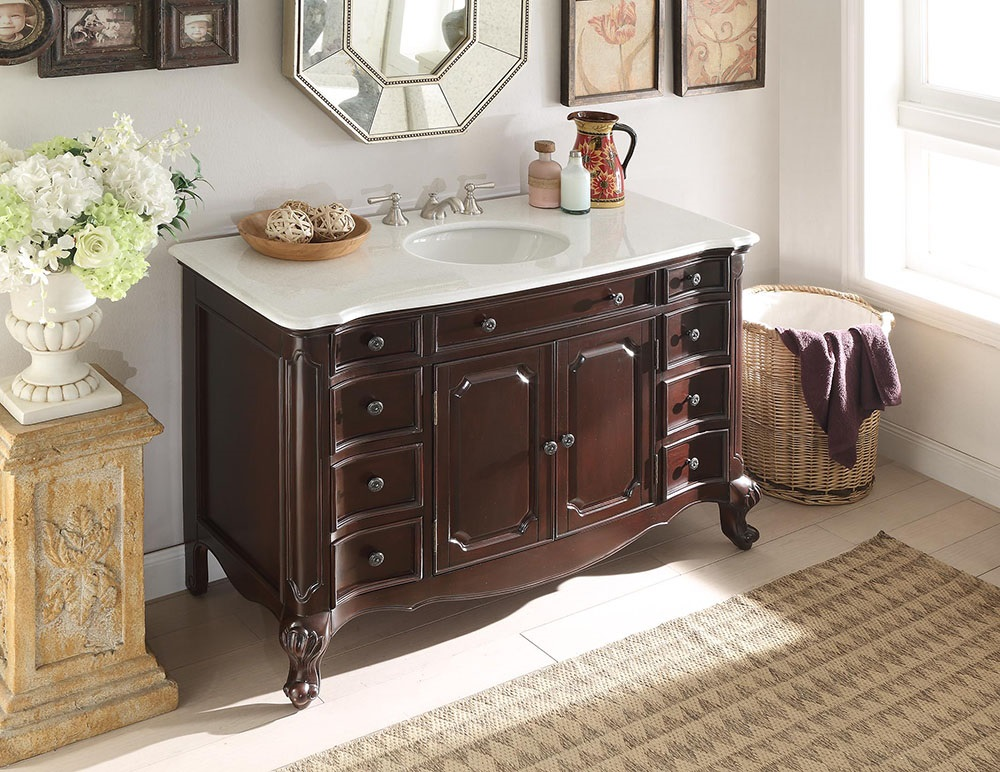 "Adelina 48"" Bathroom Sink Vanity - Dark Brown"